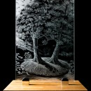 ENGRAVED GLASS WINDOW - on Love and Marriage - on oak display base