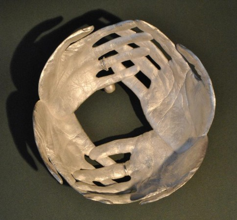 BOWLED OVER - Sterling Silver Vessel - made of hand prints